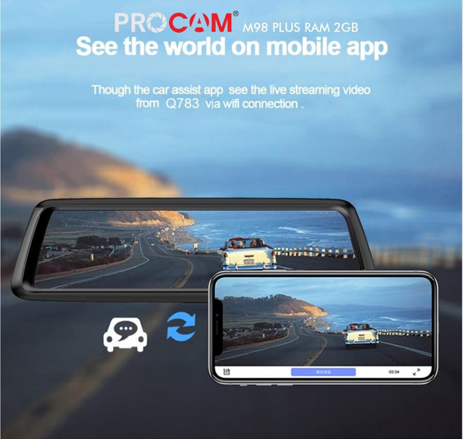 Camera hành trình Procam M98 Plus Ram 2G dạng Gương