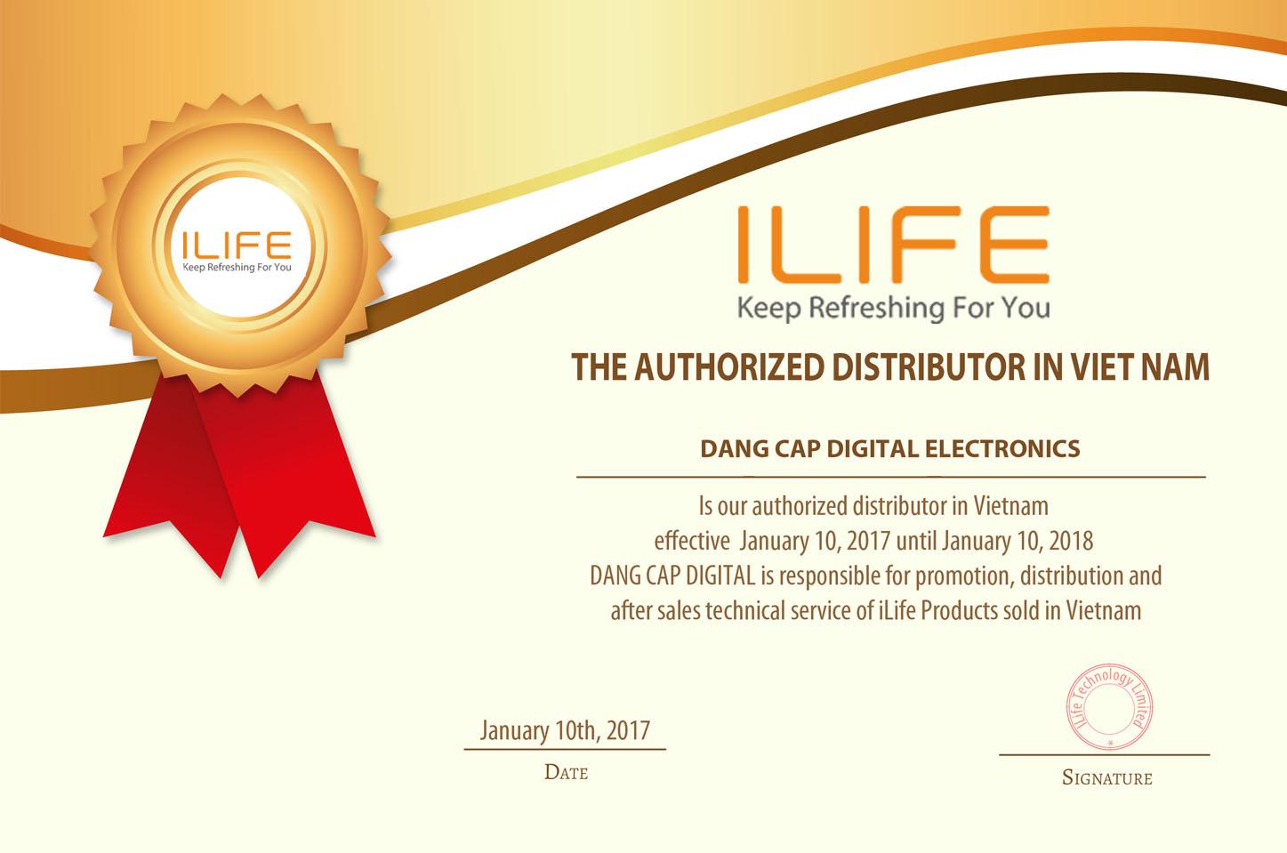 Giấy chứng nhận Đẳng Cấp Digital nhà phân phối iLife độc quyền tại Việt Nam