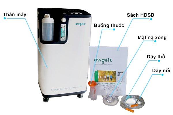 Máy tạo oxy Owgels OZ-5-01TW0 thêm chức năng xông mũi