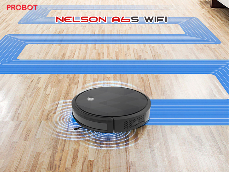 Probot Nelson A6S WIFI, Hút bụi lau nhà, điều khiển qua điện thoại hỗ trợ Alexa